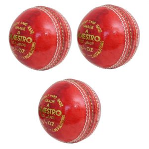 CW Maestro Red Leather Cricket Ball 4Pc Hand Stitch Pack of 3 Weight 156gm Approx