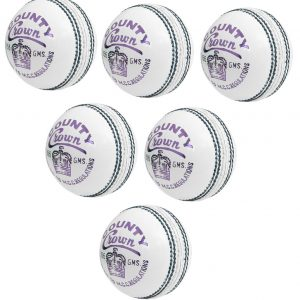 CW County Crown White Cricket Ball Light Weight 4 Piece Leather Ball Durable Hand Stitched Balls Set of 6 in Box