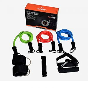 XPEED 3 Latex Strong Pull String Body Building Training, Pull Rope Rubber Exerciser,Toning Tube Kit with Foam Handles.
