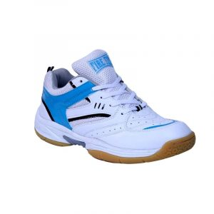 FIRE FLY EXCEL Blue Shoe for Badminton/Tennis Indoor Professional Sport in PU with Non Marking Sole