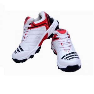 Men All Rounder Sports Stylish Cool Looks All Season PU White/Red Light Weight Lace-Up Closer Cricket Shoe Pair Ideal for Senior/Adult/Boys Shoes