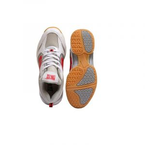 FIRE FLY Badminton Shoe for Boys Performer Indoor PU Light Weight White Red Orange