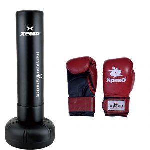XPEED Free Standing Bag for Kickboxing Heavy Punching with Leather Glove Free Size