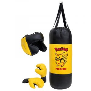 FIRE FLY Cartoon Characters Print Children Boxing Set Safe Light Punching Bag Padded Boxing Gloves & Hedguard for 5-9 Years Old Boys