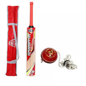 CW PACE Sports Combo Leather Ball Play Kashmir Willow Cricket Bat Full Size with Shot Practice Leather Ball Hanging with Rope